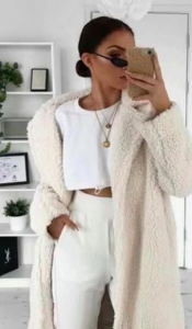 white oversized teddy coat